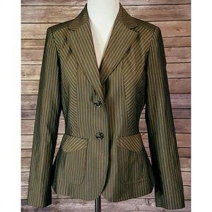 Etcetera Green Gold Striped Blazer Sports Coat